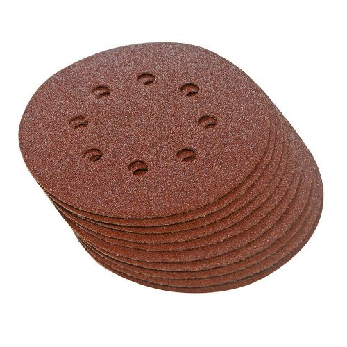 10 Pack Silverline 633955 Hook & Loop Sanding Discs Punched 125mm 80 Grit